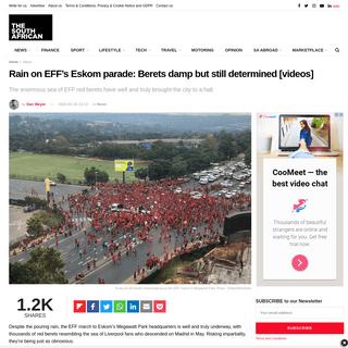 Rain on EFF's Eskom parade- Berets damp but still determined [videos]