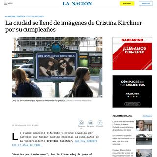 La ciudad se llenó de imágenes de Cristina Kirchner por su cumpleaños - LA NACION