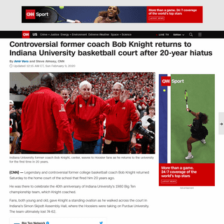 Controversial former coach Bob Knight returns to Indiana University court after 20-year hiatus - CNN