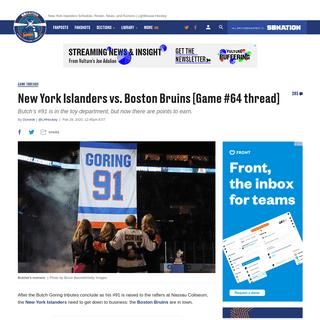 New York Islanders vs. Boston Bruins [Game #64 thread] - Lighthouse Hockey