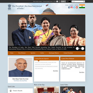 Welcome to the website of The President of India