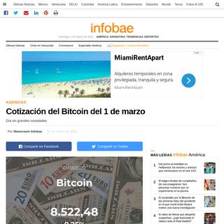 Cotización del Bitcoin del 1 de marzo - Infobae