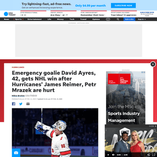 David Ayres, emergency goalie, enters Hurricanes-Maple Leafs game