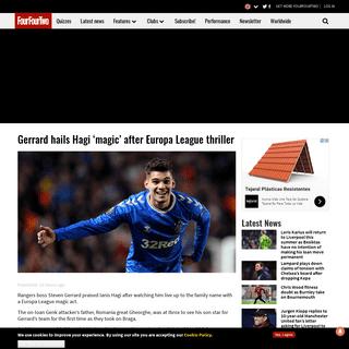 Gerrard hails Hagi 'magic' after Europa League thriller - FourFourTwo