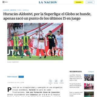 Huracán-Aldosivi, por la Superliga- el Globo se hunde, apenas sacó un punto de los últimos 15 en juego - LA NACION