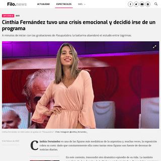 Cinthia Fernández tuvo una crisis emocional y decidió irse de un programa - Filo News