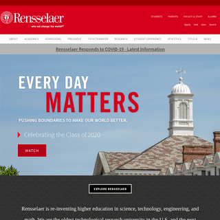 Rensselaer Polytechnic Institute (RPI) -- Architecture, Business, Engineering, Humanities, IT & Web Science, Science