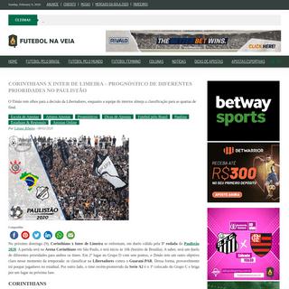 Corinthians x Inter de Limeira - Prognóstico de diferentes prioridades no Paulistão - Futebol na Veia