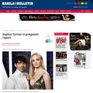 Sophie Turner is pregnant- report » Manila Bulletin Entertainment