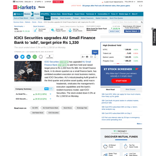 AU SFB- ICICI Securities upgrades AU Small Finance Bank to 'add', target price Rs 1,330 - The Economic Times