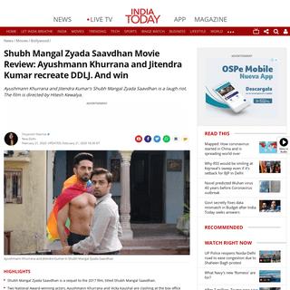 Shubh Mangal Zyada Saavdhan Movie Review- Ayushmann Khurrana and Jitendra Kumar recreate DDLJ. And win - Movies News