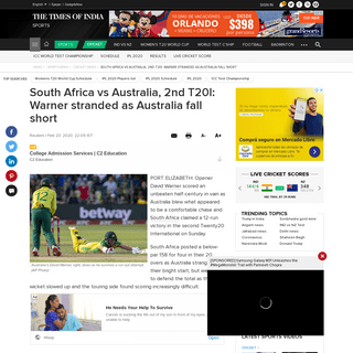 South Africa vs Australia, 2nd T20I- Warner stranded as Australia fall short - Cricket News - Times of India