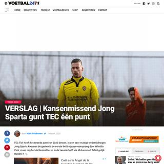 VERSLAG - Kansenmissend Jong Sparta gunt TEC één punt - Voetbal247.nl
