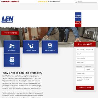 Len The Plumber in Baltimore, DC, Northern VA, PA & Delaware