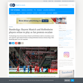 Bundesliga- Bayern Munich and Hoffenheim players refuse to play as fan protests escalate - Sports- German football and major int