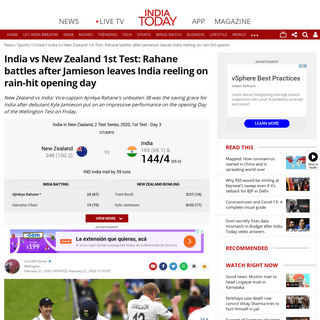India vs New Zealand 1st Test- Rahane battles after Jamieson leaves India reeling on rain-hit opening day - Sports News