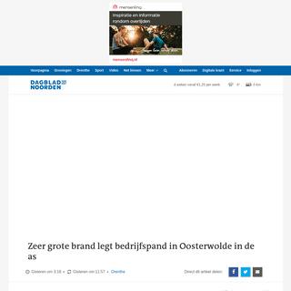 Zeer grote brand legt bedrijfspand in Oosterwolde in de as - Drenthe - DVHN.nl
