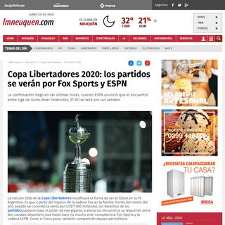Copa Libertadores 2020- los partidos se verán por Fox Sports y ESPN - Copa Libertadores, Partidos, River