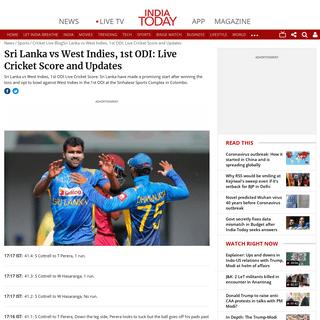 ArchiveBay.com - www.indiatoday.in/sports/story/sri-lanka-vs-west-indies-1st-odi-live-cricket-score-updates-1648945-2020-02-22 - Sri Lanka vs West Indies (SL vs WI), 1st ODI- Live Cricket Score and Updates - IndiaToday