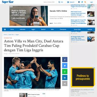 Aston Villa vs Man City, Duel Antara Tim Paling Produktif Carabao Cup dengan Tim Liga Inggris - Tribunnews.com