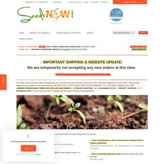 SeedsNOW! Organic NON-GMO Heirloom Vegetable Garden Seeds Order Online
