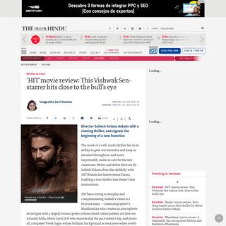 'HIT' review- This Vishwak Sen starrer directed by debutant Sailesh Kolanu is a riveting thriller - The Hindu