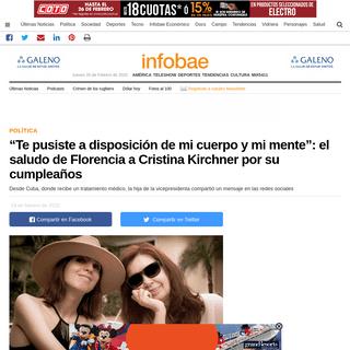 """""""Te pusiste a disposición de mi cuerpo y mi mente""""- el saludo de Florencia a Cristina Kirchner por su cumpleaños - Infobae"""