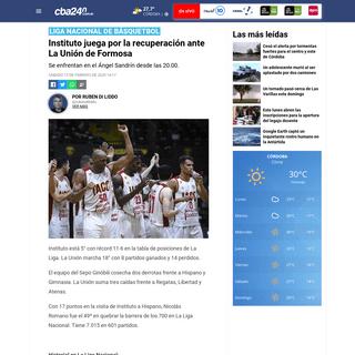 Instituto juega por la recuperación ante La Unión de Formosa - Cba24n - Noticias de Córdoba
