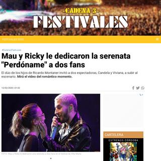 Mau y Ricky le dedicaron la serenata -Perdóname- a dos fans - Festivales 2020 - Cadena 3 Argentina
