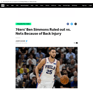 76ers' Ben Simmons Ruled out vs. Nets Because of Back Injury - Bleacher Report - Latest News, Videos and Highlights
