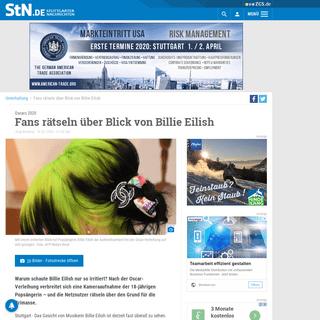 Oscars 2020- Fans rätseln über Blick von Billie Eilish - Unterhaltung - Stuttgarter Nachrichten