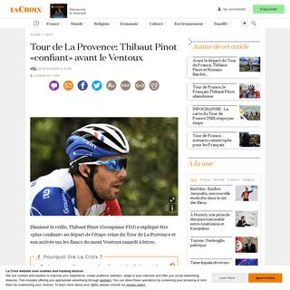 Tour de La Provence- Thibaut Pinot «confiant» avant le Ventoux