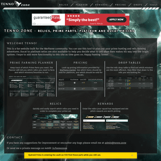 Tenno Zone - Relics, Prime Parts, Platinum and Ducat Pricing