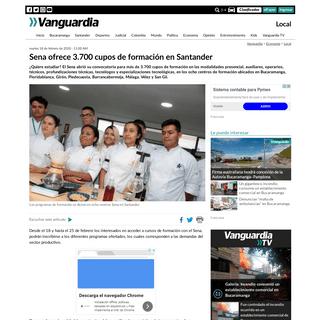 Sena ofrece 3.700 cupos de formación en Santander - Vanguardia.com