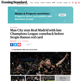 Real Madrid 1-2 Man City, Champions League score and result LIVE- Ramos sent off in City comeback - London Evening Standard