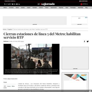 Cierran estaciones de línea 5 del Metro; habilitan servicio RTP - Capital - La Jornada