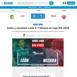 Goles y resumen- León 2-1 Necaxa en Liga MX 2020 - 22-02-2020 - VAVEL México