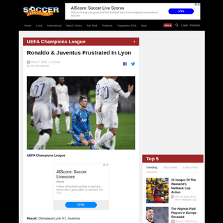 UEFA Champions League Report- Olympique Lyon v Juventus 26 February