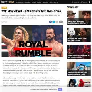 WWE's Royal Rumble 2020 Results Have Divided Fans - Screen Rant