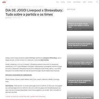 DIA DE JOGO! Liverpool x Shrewsbury- Tudo sobre a partida e os times