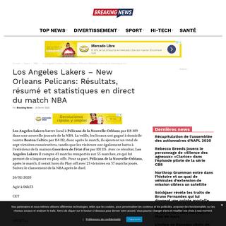 Los Angeles Lakers - New Orleans Pelicans- Résultats, résumé et statistiques en direct du match NBA