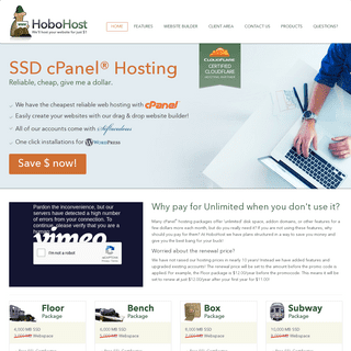 HoboHost - $1-month Cheap cPanel Host! - $11 For A Year!!