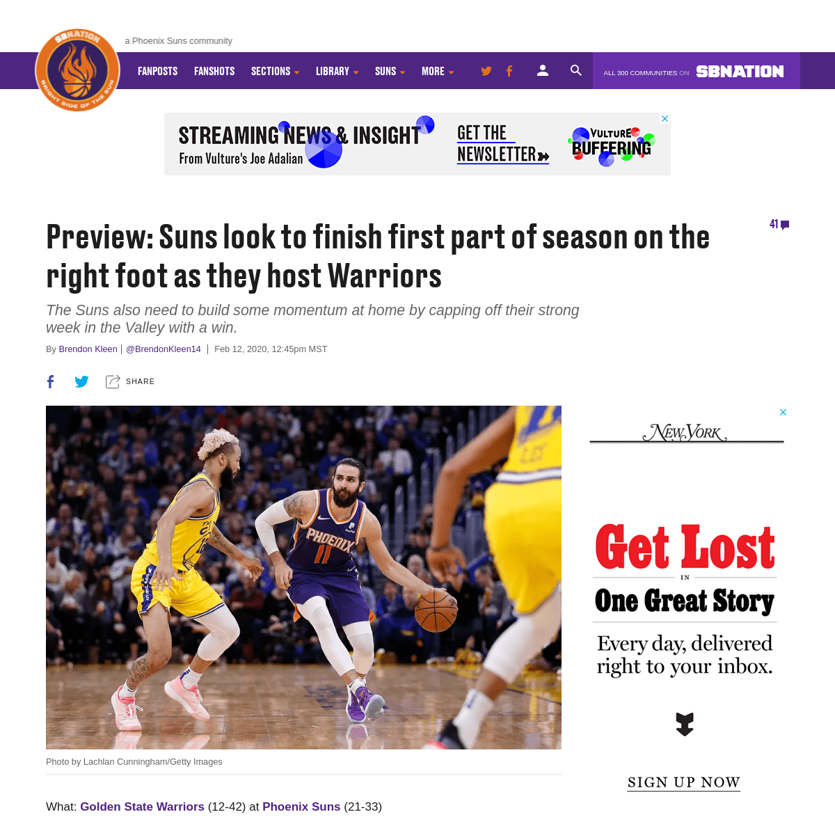 Preview- Phoenix Suns look to stay on right foot as they host Warriors - Bright Side Of The Sun