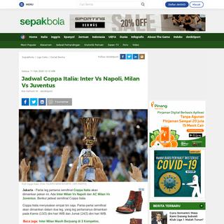Jadwal Coppa Italia- Inter Vs Napoli, Milan Vs Juventus