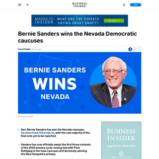 ArchiveBay.com - www.businessinsider.com/bernie-sanders-win-nevada-democratic-caucuses-sweeps-three-contests-2020-2 - Bernie Sanders win Nevada Democratic caucuses, sweeps three contests - Business Insider