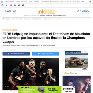 El RB Leipzig se impuso ante el Tottenham de Mourinho en Londres por los octavos de final de la Champions League - Infobae