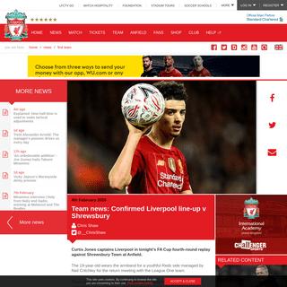 Team news- Confirmed Liverpool line-up v Shrewsbury - Liverpool FC