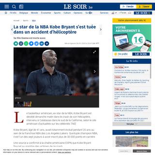 La star de la NBA Kobe Bryant s'est tuée dans un accident d'hélicoptère - Le Soir