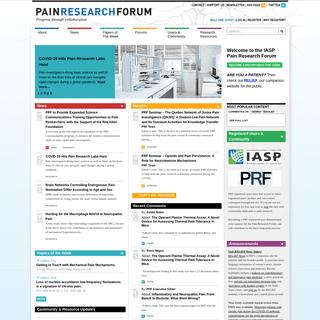 Pain Research Forum - Progress through collaboration