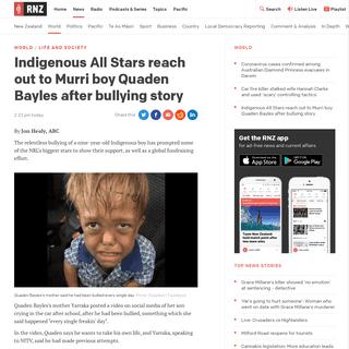 ArchiveBay.com - www.rnz.co.nz/news/world/410052/indigenous-all-stars-reach-out-to-murri-boy-quaden-bayles-after-bullying-story - Indigenous All Stars reach out to Murri boy Quaden Bayles after bullying story - RNZ News
